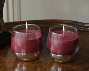 2-Piece Set of Wine Glass Candle with a Surprise Wine Charm at Bottom of Each Glass