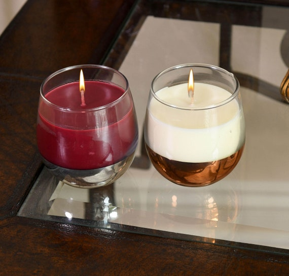 NEW! 2-Piece Set of Wine Glass Candle with a Surprise Wine Charm in each Glass