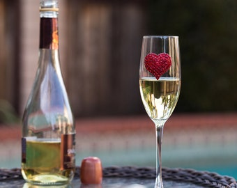 Jewel Encrusted Champagne Flute Glass with Red Heart - 100% Handmade in the USA