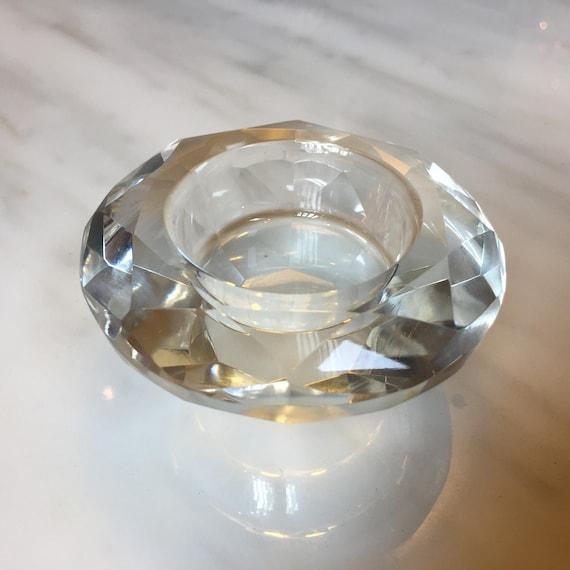 CLEARANCE Diamond Cut Glass Tea Light Candle Holder - ITEM DISCOUNTED