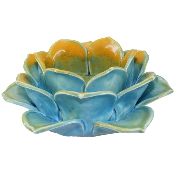 Turquoise Blue and Gold Lotus Tea Light Holder in Porcelain Finish
