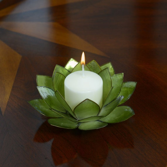 Green Lotus Flower Capiz Shell Candle Holder - A Real Jewel of a Gift and Keepsake