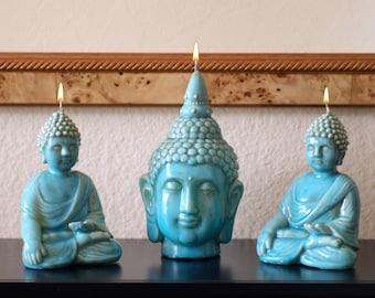 Set of Three Buddha Candles in Ceramic Finish with Unique Turquoise Glaze