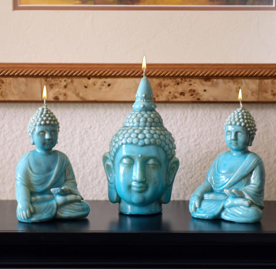Set of Three Buddha Candles in Ceramic Finish with Unique Turquoise Glaze