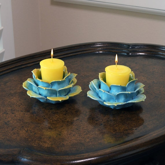 2-Piece Turquoise Blue and Gold Porcelain Lotus Flower Candle Holder
