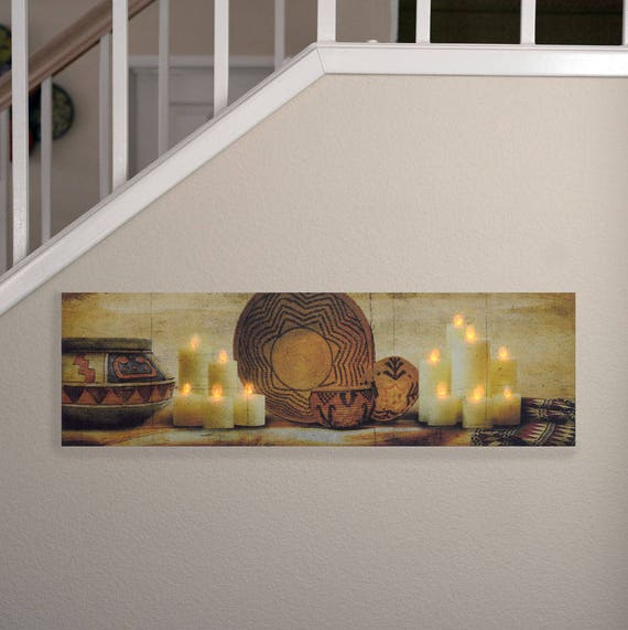 Lighted Canvas Painting of Mantel of Candles. Lighted by nicely embedded LED lights. Looks really beautiful.