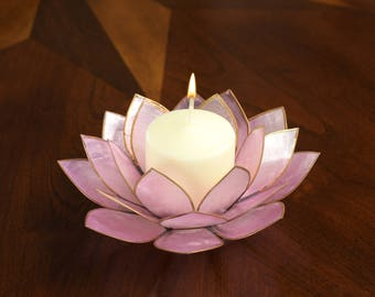 Lavender Lotus Flower Capiz Shell Candle Holder - Rare Color and a Real Jewel of a Gift and Keepsake