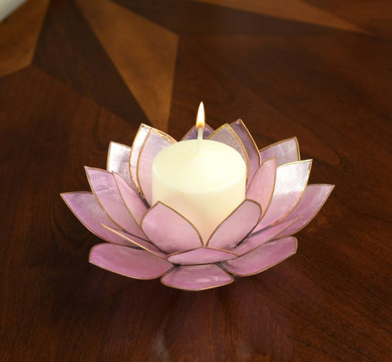 Lavender Lotus Flower Capiz Shell Candle Holder - A Real Jewel of a Gift and Keepsake. See HOLIDAY SPECIAL DEAL below...