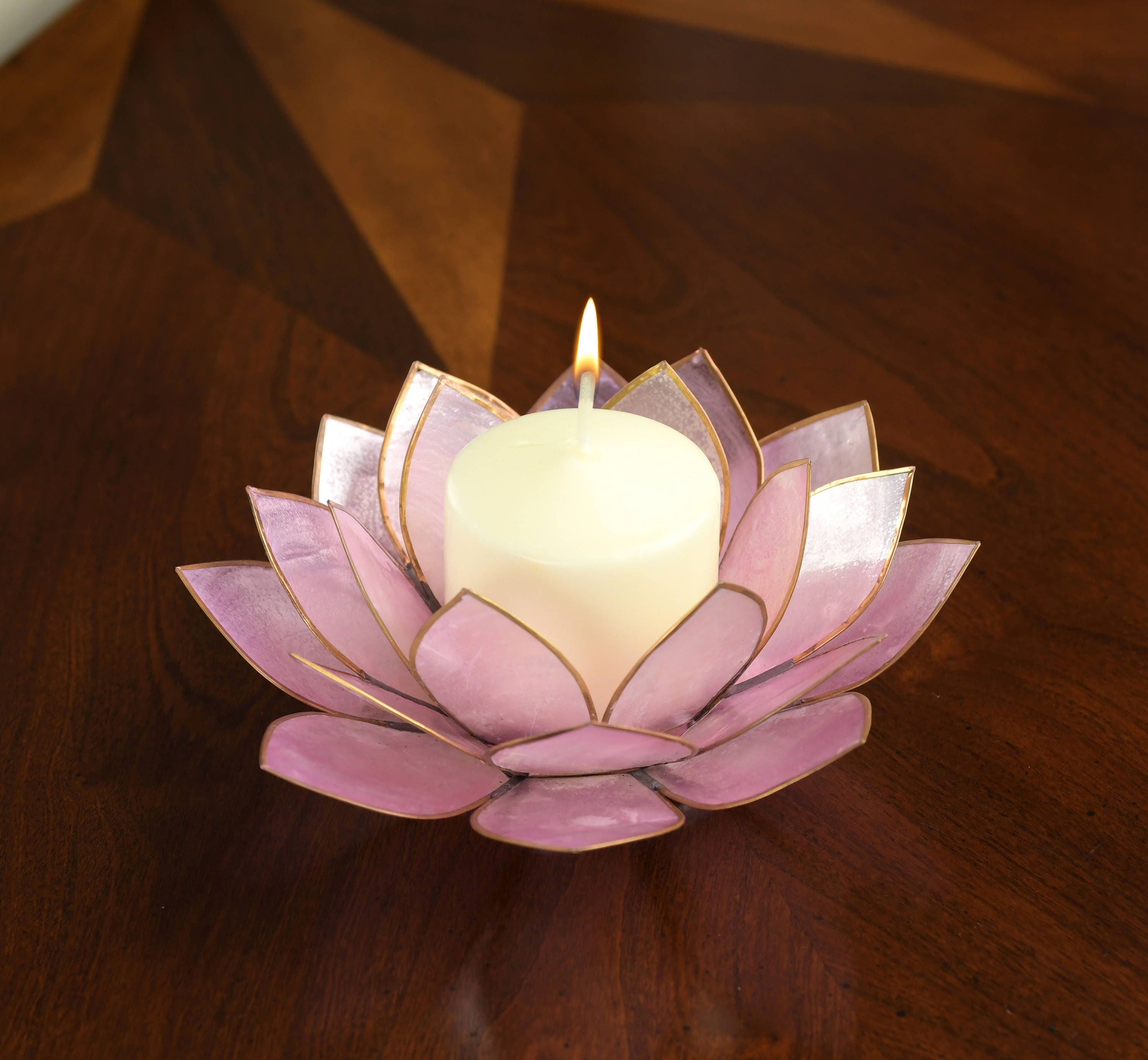 Lavender Lotus Flower Capiz Shell Candle Holder A Real Jewel Etsy