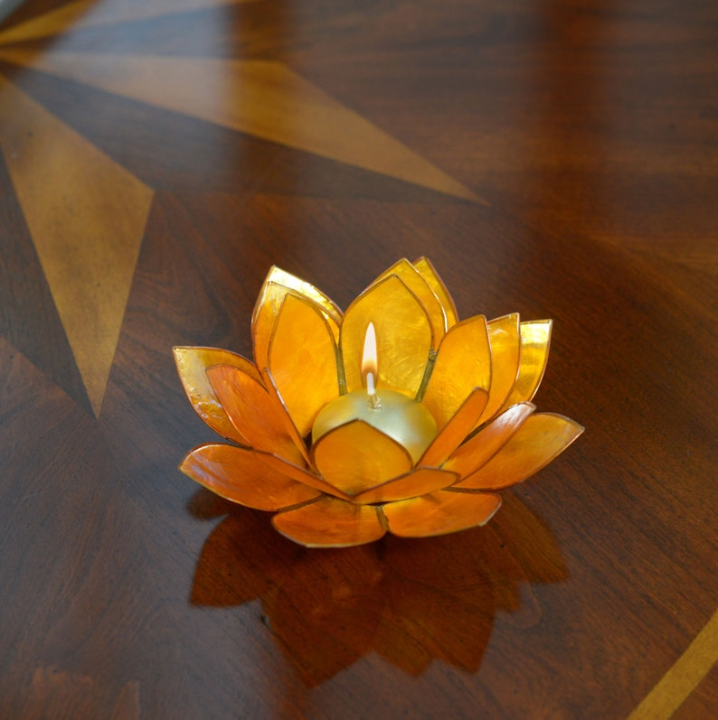 Yellow Lotus Flower Capiz Shell Candle Holder A Real Jewel Etsy