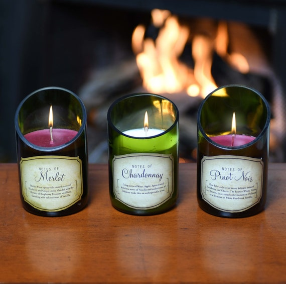 3-Piece Wine Bottle Candle Set; Beautiful Scents of Merlot, Chardonnay, Pinot (and more.) Superb Value Wine Gift and Very Unique.