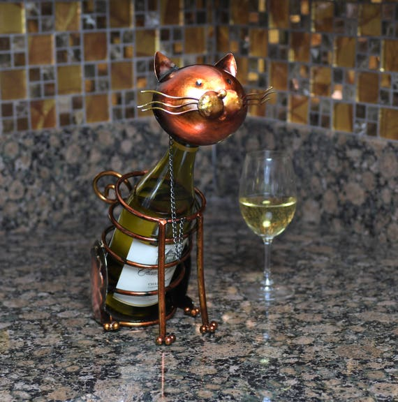 Cat Figurine Metal Wine Bottle Holder. A Really Unique Gift for the Wine and Cat Lover