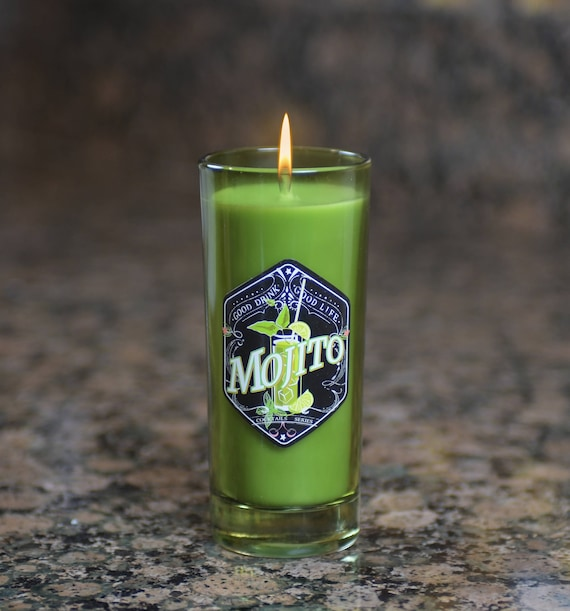 Cocktail Glass Candle, Mojito Scent - 6 Oz.