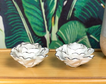 2-Piece hard-to-find, white porcelain finish Lotus Flower Candle Holder. Hand painted.