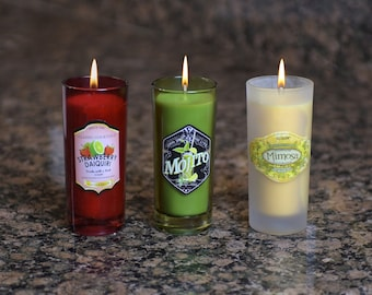 3-Piece Large Shot Glass Candle Gift Set with Scents of Daiquiri, Mojito and Mimosa