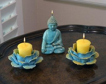 Witness Buddha Candle and Turquoise Blue & Gold Porcelain Lotus Flower Candle Holder Meditation Set