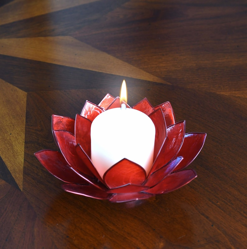 Red Lotus Flower Capiz Shell Candle Holder A Real Jewel Of A Etsy