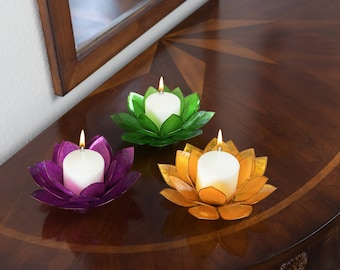 3-Piece Lotus Flower Capiz Shell Candle Holders. Now with FREE SHIPPING