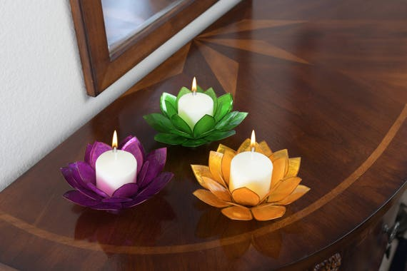 3-Piece Lotus Flower Capiz Shell Candle Holders