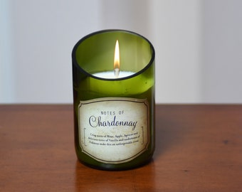 Chardonnay Wine Bottle Candle. Superb Value Wine Gift and Very Unique.