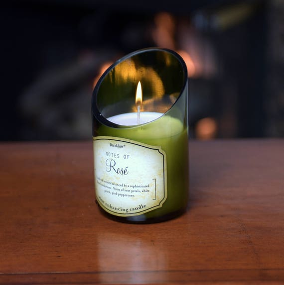 Wine Bottle Candle with Beautiful Scent of White Rosé. Superb Value Wine Gift. Very Unique.