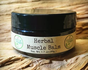 Herbal Muscle Balm - Natural Pain Relief Salve - Assists with Muscle and Nerve pain