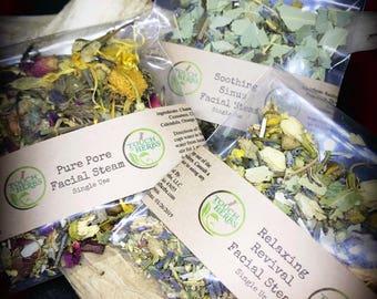 Face steam sample set. Facial steam gift set. Single use facial steam variety pack. facial steam herb . facial steamer . facial steam tea .