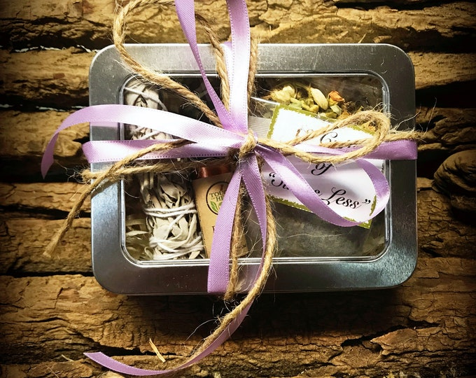 Stress Relief Gift Box - Purple Ribbon Gift Box - Calming Kit - Stress Relief Kit - Stress Care Package - Relaxation Gifts
