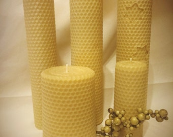 100% Rolled Beeswax Candles for Christmas Wreath -  Beeswax Candles - Christmas Gift - Handmade Beeswax Candles - Beeswax Pillar Candles