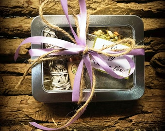 Stress Less Gift Box - Calming Kit - Stress Relief Kit - Stress Care Package - Relaxation Gifts - Purple Ribbon Gift Box