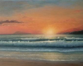 Mediterranean theme 1. oil, canvas,original painting ,seascape, sea,  waves, sunset, wall decor, visual art, nature,marine
