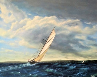 Vintage yacht in action N.3. Oil, canvas,original painting ,seascape, sea,  waves, sunset, wall decor, visual art, nature,marine