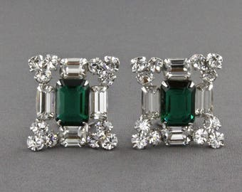 Vintage Large Emerald Green And Clear Rhinestone Clip Back Earrings
