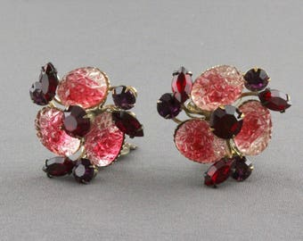 Vintage Rhinestone And Art Glass Clip Back Earrings By Beau Jewels