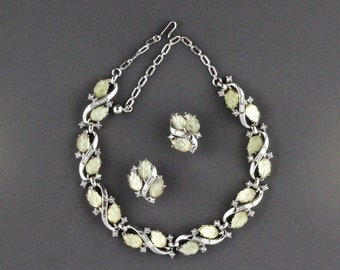 Vintage Trifari Yellow Frosted Glass Leaf And Rhinestone Necklace And Clip Back Earring Set