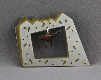 Vintage Silver And Brass Modernist Asymmetrical Handmade Cat Pin