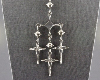 51763b1c14 Vintage Very Large Mexican Sterling Silver Yalalag Three Dangling Cross  Pendant