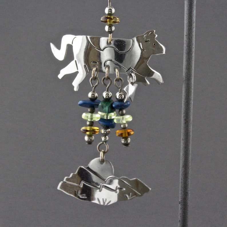 Vintage Very Long Sterling Silver Cow Jumped Over The Moon And Mountains Post Style Pierced Earrings