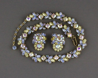Vintage Trifari Blue And Yellow Rhinestone Necklace And Clip Back Earring Set