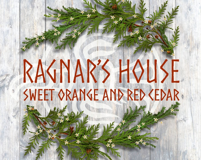 RAGNAR'S HOUSE - Luxe Coconut Wax Candle with Wood Wick - Sweet Orange & Red Cedar - Large 8 oz.