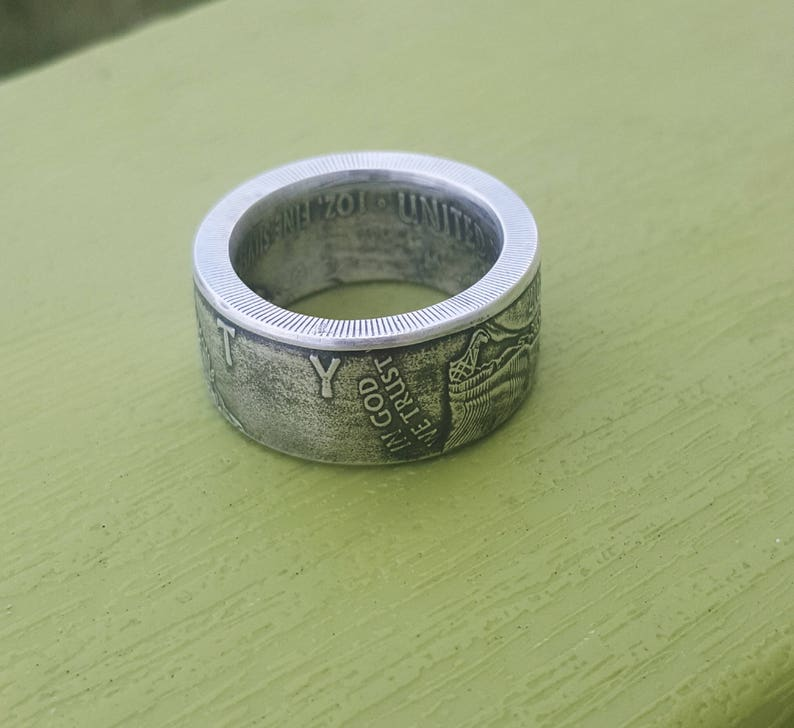 Wide band Silver Eagle coin ring