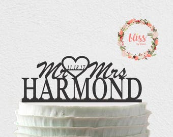 Wedding Cake Topper. Mr & Mrs Cake Topper. Date Cake Topper. Personalized Cake Topper. Custom Cake Topper.
