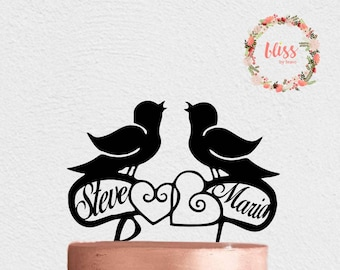 Love Birds Wedding Cake Topper. Wedding Cake Topper. Wedding Date Cake Topper. Personalized Cake Topper. Custom Cake Topper.