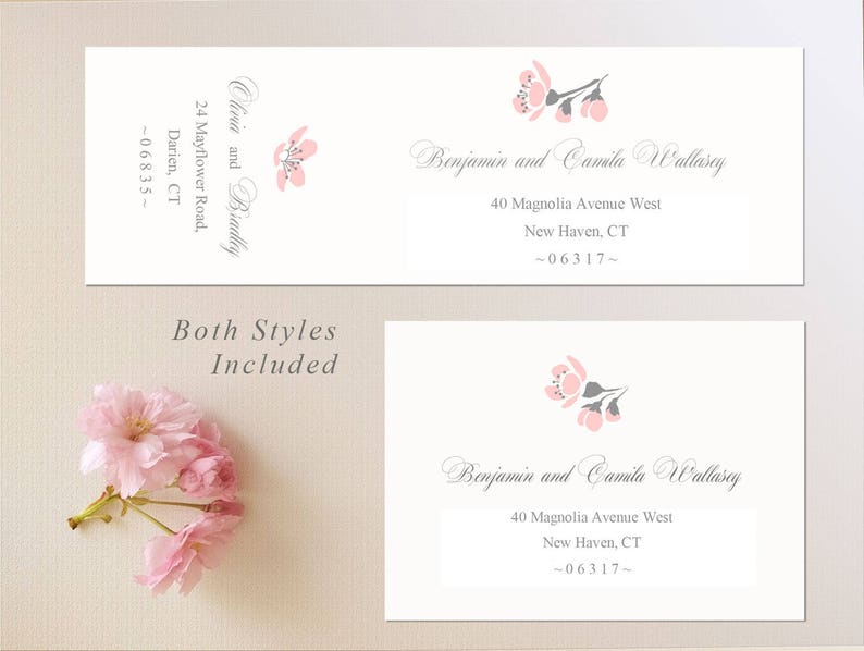 Cherry Blossom Labels SWSC#002 Envelope Sticker Seals Template Edit in Word Instant Download Envelope Labels Template