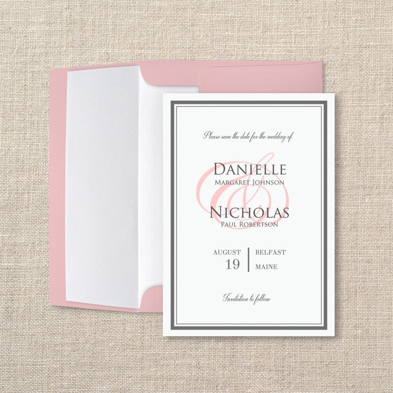 Printable Save The Date Template Classic Border Editable In Word Instant Download