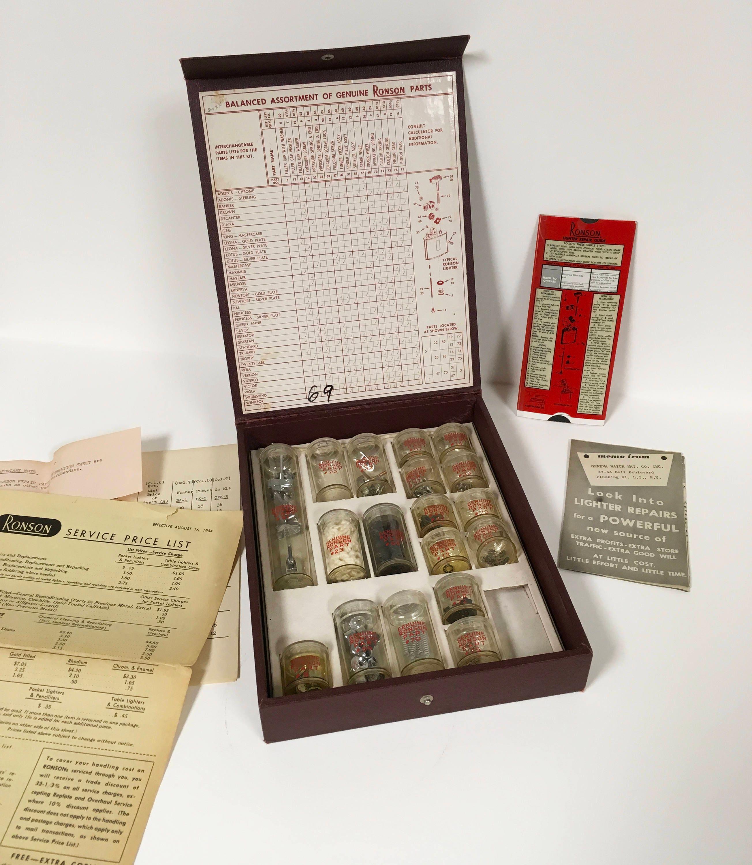 Rare 1950s vintage RONSON LIGHTER REPAIR case Box Spare Parts | Etsy