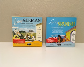 The Living Language Spanish and German Vintage Lp Records sets with instructional Books  TWO FOR ONE