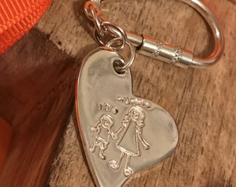 Personalised Childrens Drawing Silver Keyring