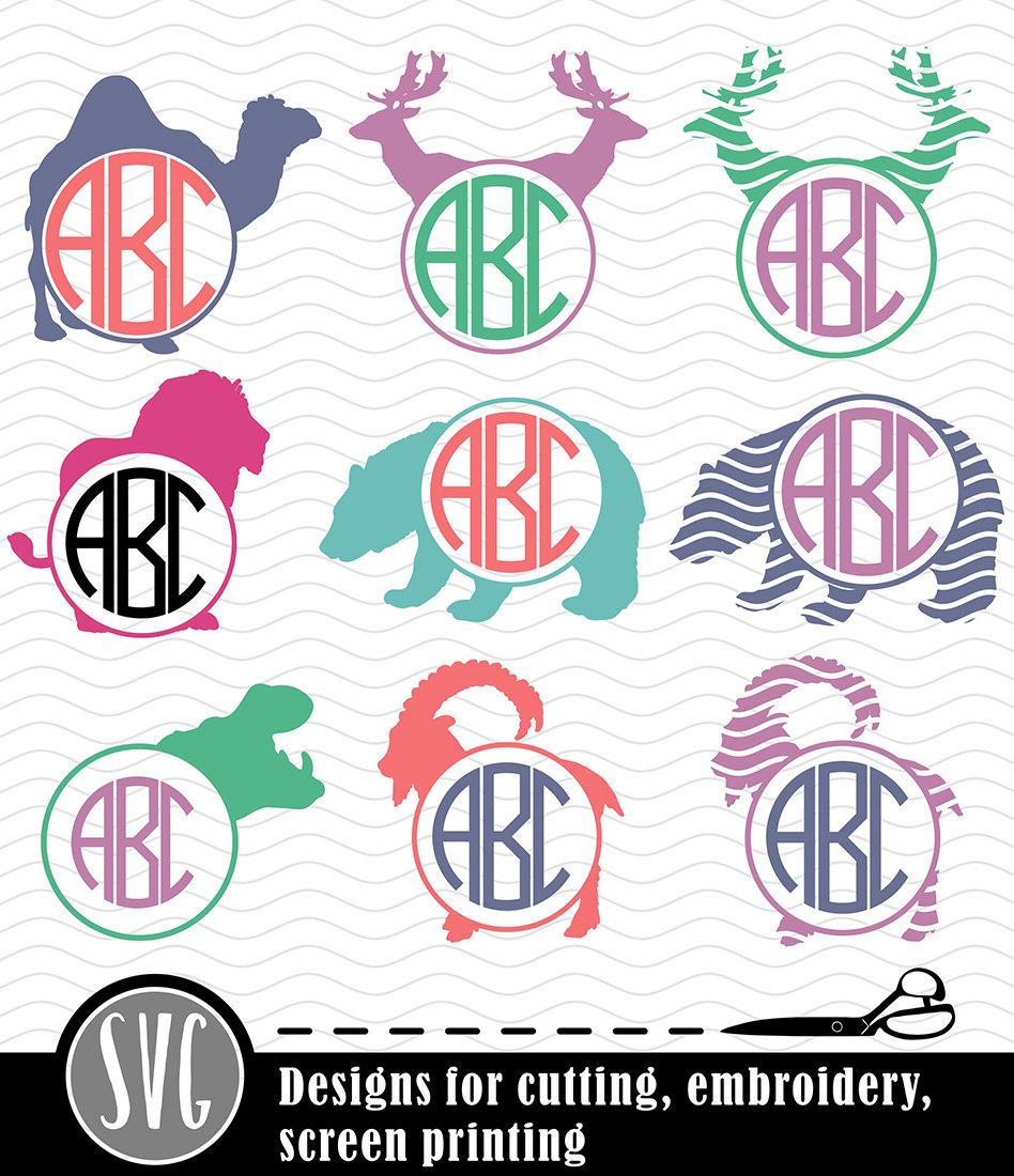 Animals Monogram SVG Frames. Safari Animal svg Wild Animal | Etsy