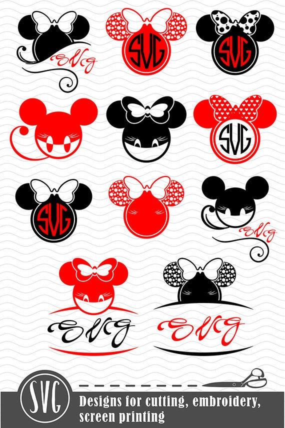 Minnie Mouse Monogram Svg Disney Cuttable Clip Art Frames Etsy